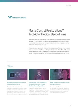 MasterControl Registrations™ Toolkit for Medical Device Firms