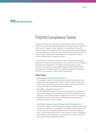 FDA/ISO Compliance Toolkit