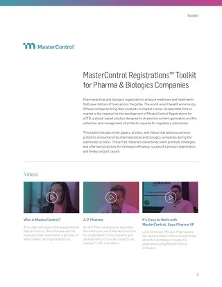 MasterControl Registrations™ Toolkit for Pharma & Biologics Companies