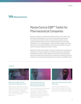 MasterControl EBR™ Toolkit for Pharmaceutical Companies