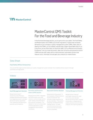 MasterControl QMS Toolkit: For the Food and Beverage Industry