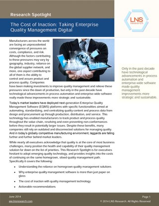 Cost of Inaction - Taking Quality Management Processes Digital