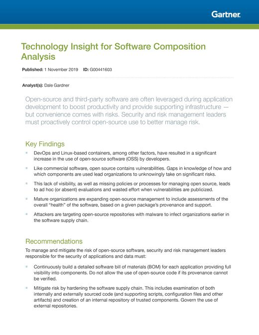Gartner: Technology Insights for Software Composition Analysis