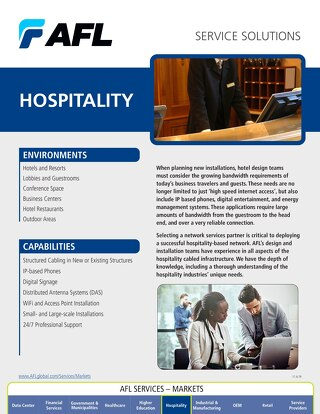 AFL Service Solutions - Hospitality Project Snapshot