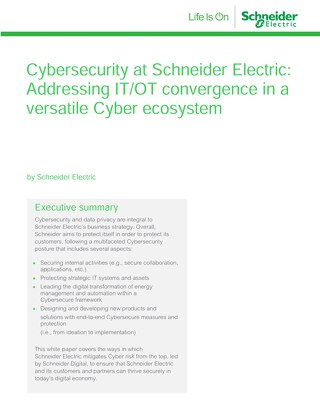 WP - Cybersecurity at Schneider Electric