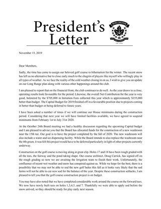 President's Letter ~ November 15 2019