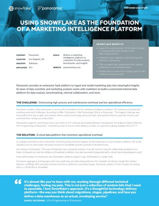 Using Snowflake as the Foundation of a Marketing Intelligence Platform