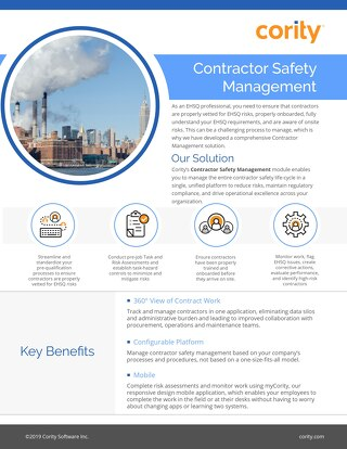 One Pager - Contractor Safety Management