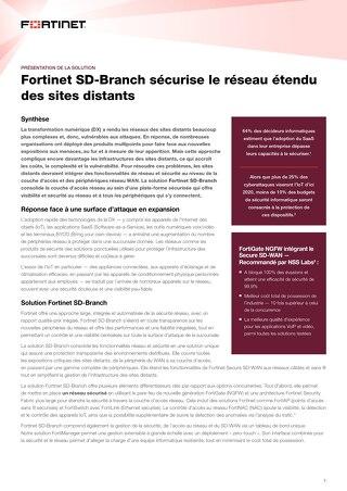 Fortinet SD-Branch sécurise le réseau étendu des sites distants