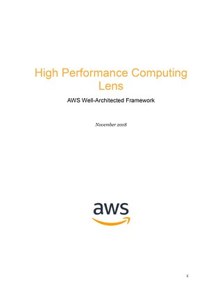HPC Lens for the AWS Well-Architected Framework