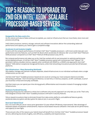 Top 5 Reasons to Upgrade to 2nd Gen Intel® Xeon® Scalable Processor-Based Servers