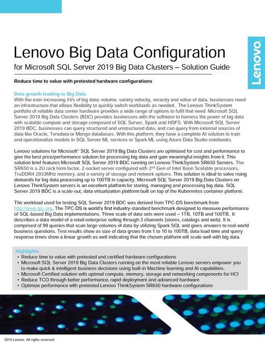 Solution Guide: Lenovo Big Data Configuration for Microsoft SQL Server 2019 Big Data Clusters
