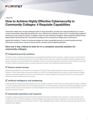 How to Achieve Highly Effective Cybersecurity in Community Colleges
