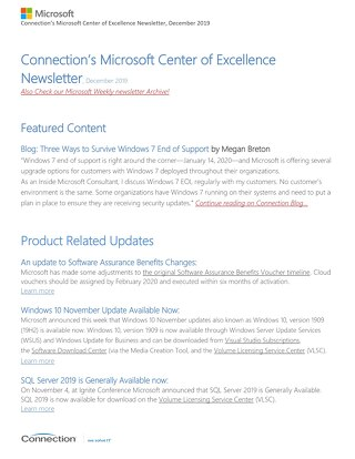 Connections Microsoft Center of Excellence Newsletter - December 2019