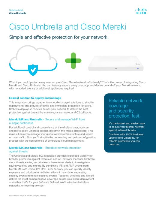 Cisco Umbrella and Cisco Meraki