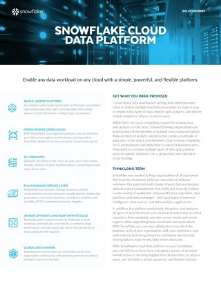Snowflake Cloud Data Platform Solution Brief