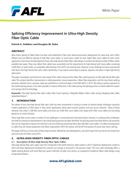 Splicing Efficiency Improvements in Ultra-High Density Fiber Optic Cable