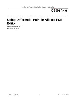 Using Differential Pairs in Allegro PCB Editor