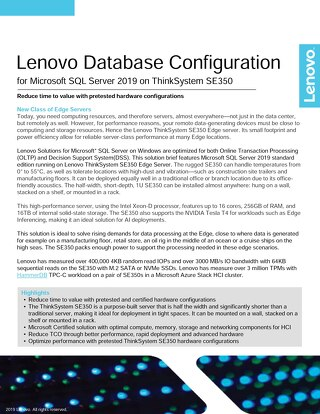Lenovo Database Configuration for Microsoft SQL Server 2019 on ThinkSystem SE350