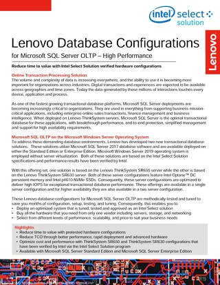 Lenovo Database Configurations for Microsoft SQL Server OLTP High Performance