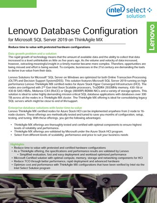Lenovo Database Configuration for Microsoft SQL Server 2019 on ThinkAgile MX