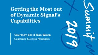 Dynamic Signal Capabilities (Workshop Session)