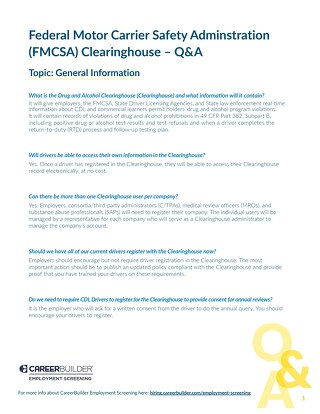 FMCSA Clearinghouse - FAQ