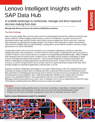 Lenovo Intelligent Insights with SAP Data Hub on ThinkSystem Servers with Red Hat