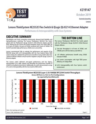 Lenovo Flex System NE2552E Switch: Performance and Interoperability Evaluation – Tolly Report