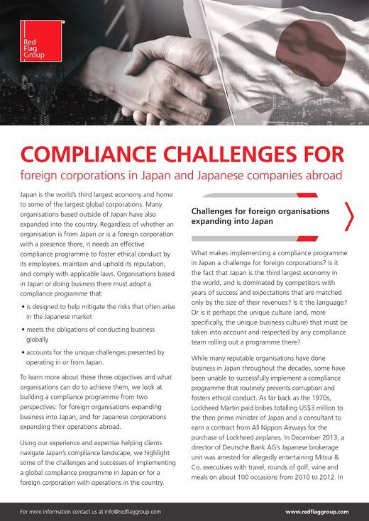 Compliance Challenges for foreign corporations in Japan and Japanese companies abroad