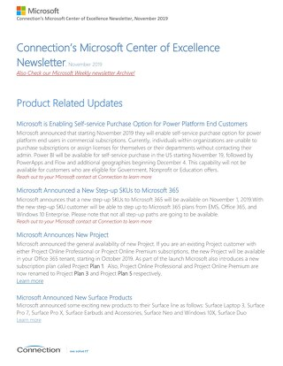 Connections Microsoft Center of Excellence Newsletter - November 2019