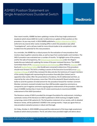 ASMBS Position Statement on Single Anastomosis Duodenal Switch