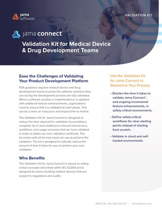 Jama Connect Validation Kit for Medical Device & Drug Development Teams