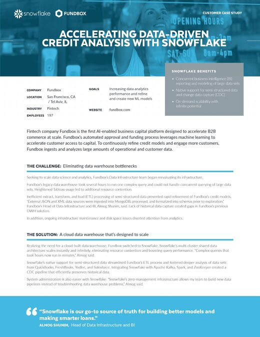Fundbox: Accelerating Data-Driven Credit Analysis with Snowflake