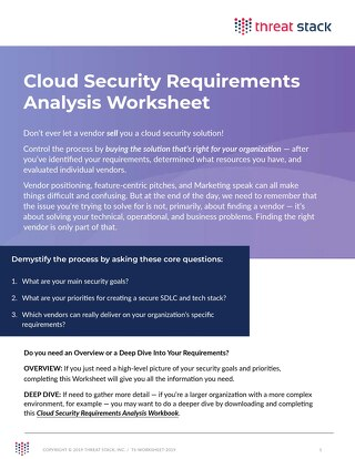 Cloud Security Requirements Analysis Worksheet