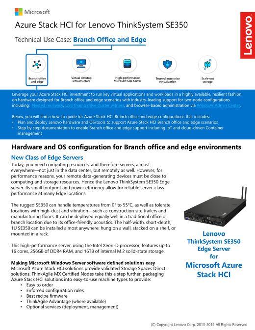 Microsoft Azure Stack HCI for Lenovo ThinkSystem SE350