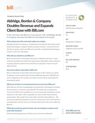 Case Study : Aldridge, Borden and Company