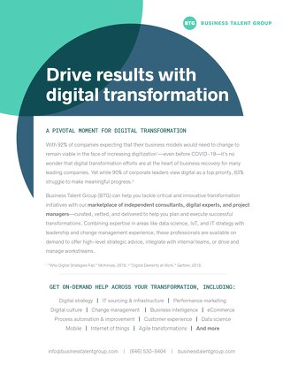 BTG Key Strengths: Digital Transformation