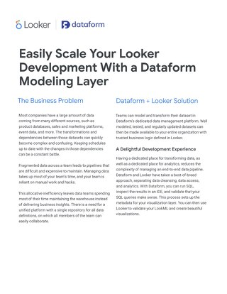 Easily Scale your Looker Development with a Dataform Modeling Layer