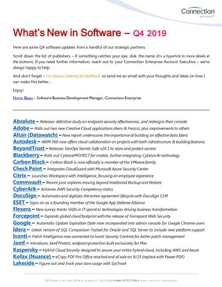Connection's What's New in Software Newsletter - Q4 2019