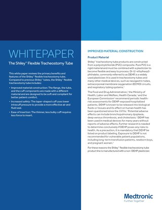 White Paper: Shiley™ Flexible Tracheostomy Tube