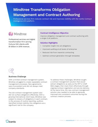 Mindtree Transforms Obligation Management With Icertis