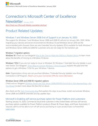 Connection's Microsoft Center of Excellence Newsletter - January 2020
