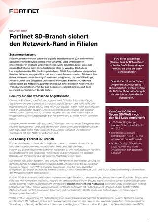 Fortinet SD-Branch sichert den Netzwerk-Rand in Filialen