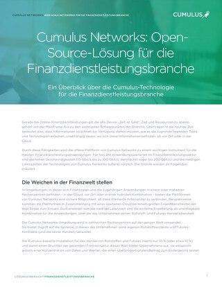 Cumulus Networks: Open-Source-Lösung für die Finanzdienstleistungsbranche