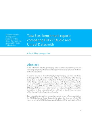 Tata Elxsi Benchmark Report: PiXYZ Studio vs. Unreal Datasmith