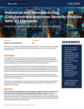 Industrial and Manufacturing Conglomerate Improves Security Posture with SD Elements