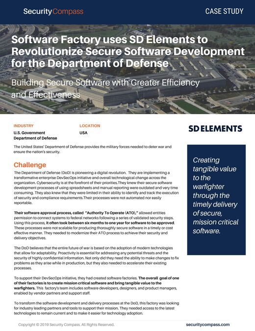 Software Factory uses SD Elements