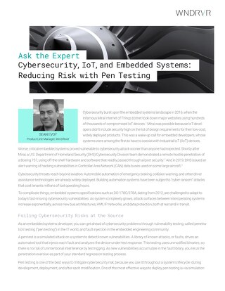 Cybersecurity, IoT, and Embedded Systems: Reducing Risk with Pen Testing