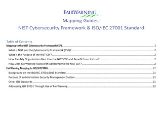 FairWarning Mapping Guides: NIST and ISO 27001